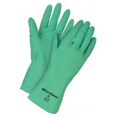 MEM - 5319U M.C.R. 15 Mil Unlined Industrial Grade Straight Cuff Green Nitrile Chemical Unsupported Glove with Raised Diamond Grip