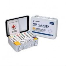 AUC - 90568 First Aid Only 25 Person, Unitized Steel Metal, First Aid Safety Kit, Durable ,Weatherproof Case, 16 Unit, ANSI A Requirements Compliant, 82-piece, Wall/Flat Surface Mountable, Compact Safety Kit.  - $45.76 each.