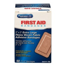 "AUC - 1 - 750 Physician's Care (2"" x 3"") Heavy Woven XL Fabric Bandages w/ Strong Adhesive, Latex-Free, Absorbent, Ventilated & Breathable, Flexible & Stretchy, Water & Dirt Repellent.  50/pack.  - $9.76 each."
