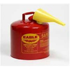 """E-UI-50S Eagle 24 Gauge Galvanized Steel 5 Gallon Type 1  Safety Can with 10"""" Yellow Funnel"""