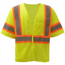 GSS - 2005 Standard HI-VIZ , Lime Green ,Safety Vest, 100% Polyester, Two Tone, Class 3 Safety, Front Zipper Closure, Lightweight, Breathable, & Durable.  - $14.76 each.