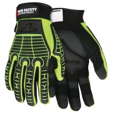 MEM - MC 502 Memphis  UltraTech Multi-Task 2 Way Hi-Vis Lime, G-Shaped  Synthetic Leather Padded Glove with ID Wrist Panel & Exclusive TPR Two Color Design on Hand Back & Fingers $ 16.76  - Per Pair