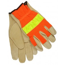 MEM-34111 M.C.,R. Grain Pigskin, Flexible, Soft Drying Luminator Driver Glove with Yellow Prismatic Reflective Tape Knuckle Strap & Hi-Viz Orange Mesh Back