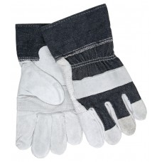 "MEM - 1220 - DX -  MCR Economy Cowhide Leather Patch Palm Gloves, Denim Fabric 2.5"" Denim Safety Cuff, 12 Pair/Pack. - $21.76 each."