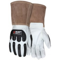 "MEM - 48406 MCR Premium Grain Goatskin Leather Welding Gloves, Padded Palm & Straight Thumb, 5"" Split Cow Cuff, TPR on back of hand offers ANSI Impact Level 1 protection.  - $14.76/Pair."