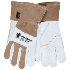 "MEM - 4890 MCR Premium Top Grain Goatskin Palm Split Leather Welding Gloves, Back Sewn w/ DuPont™ Kevlar®, Sewn 2.5"" Split Leather Cuff, Drag Patch & Knuckle Strap for Additional Protection .  - $18.76/ pair."