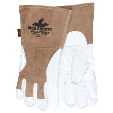 "MEM - 4891 MCR Premium Top Grain Goatskin Palm Split Leather Welding Gloves, Back Sewn w/ DuPont™ Kevlar®, Sewn 4.5"" Split Gauntlet Cuff, Top Grain Drag Patch for Added Protection.  - $19.76/Pair."