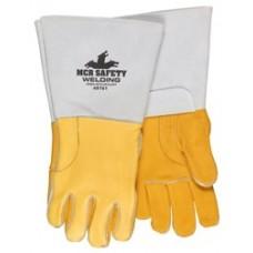 "MEM - 49751 MCR Premium Gold Grain Elkskin Cotton / Foam Lined Back Sewn w/ DuPont™ Kevlar® Welding Gloves, 5"" Cuff, Drag Patch for Additional Heat & Abrasion Protection."