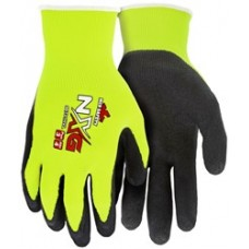 MEM - 96731HV- MCR Safety NXG Gloves 13 Gauge, Nylon/Polyester Shell, Yellow Hi-Visibility, Black Foam Latex Coated, Excellent Grip, 12 pair/pack.  -$21.12 each.