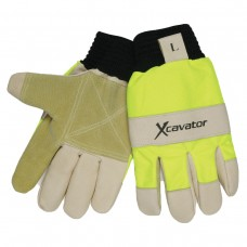 MEM - 940 HV XL  Memphis Xcavator Glove, Double Palm Pigskin & Split Leather, Knit Wrist, Full Sock Polyester Fleece Lining, Hand Back Fully Padded, Hi-Viz Fluorescent Lime Back,   $10.76 Per Pair