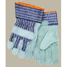 "MEM - 1400 Memphis Select Grade Shoulder Split Leather Glove with 2.5 "" Plasticized Safety Cuff, Shirred Elastic Back, Fleece Lined, Gunn Style Wing Thumb,  $43.76 Per Dozen"