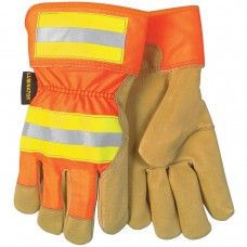 "MEM 19251 - L  Memphis Luminator Leather Palm, Grain Pigskin, Orange Back, Retro-Reflective Knuckles  & Cuff, Fleece Lined, 2.5"" Safety Cuff, Shirred Elastic Back, Gunn Pattern Wing Thumb Style   $86.76 - Per Dozen"
