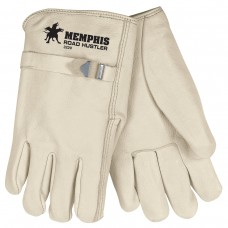 MEM - 3220 - XL Road Hustler Durable,Comfortable, Abrasion Resistant,  Unlined Leather Preimum Grade Grain Cowhide Glove with Straight Thumb, Pull Strap, Shirred Elastic Back & Rolled Leather Hem,  $146.76 - Per Dozen