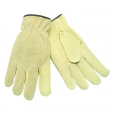 MEM - 3405 - L  Select Grade, Grain Unlined, Breathable, Pigskin Leather Glove with Shirred Elastic Split Back, Keystone Thumb, & Color coded Hem for Size ID,  $52.76 - Per Dozen