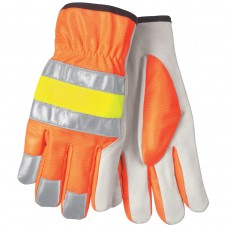 MEM - 36111 L - M.C.R. Luminator, Unlined,  Premium Grade, Grain, Goatskin,  Drivers Glove with Cotton Hem, Hi-Viz Orange Back with Silver Reflective Stripes Shirred Elastic Back,  $74.76 - Per Dozen