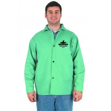 MEM - 39030 L - Memphis 9 Ounce USA Treated Green Cotton Welding Jacket, Comfortable & Launderable, Protection from Light Molten Splash & Sparks, Anodized Button Snap Closures,  $ 21.76 - Each
