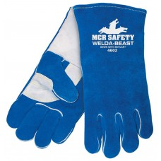 MEM - 4602 XL -  M. C. R. Welda Beast  One Piece Black Welders Glove, Sewn with DuPont Kevlar, Foam Lined, Durable, Reinforced Palm & Thumb Strap, Blue Select Side Split Cow Leather, $ 12.76 - Per Pair