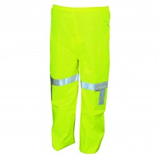 RIV - 500 - RPW Luminator, Fluorescent Lime, Class E, Rain Pants, 0.16mm Polyester/Polyurethane, Silver Reflective Stripes, Snap Fly Front, Lightweight & Durable.  - $28.76 each.