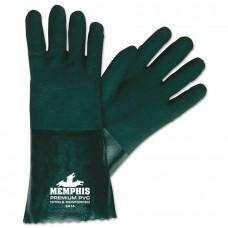 "MEM - 6414 Memphis Green Double Dipped Jersey Lined Premium 14"" PVC Glove with Sandy Finish, $37.76 - Per Dozen"