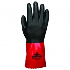 "MEM - MG 9648 L - Memphis Predator Supported/Dipped, 18 Gauge, Seamless Nylon Shell with PVC/Nitrile Bi-Polymer Double Dip, 12"" Gauntlet Cuff, Excellent Dexterity & Grip, $ 5.76 Per Pair"