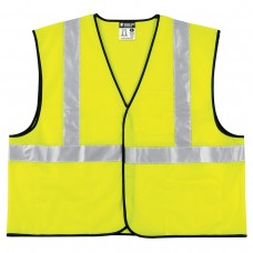 "MCR-VCL2ML M.C.R. Hi-Viz Economy Fluorescent Lime Polyester Mesh Safety Vest with Hook & Loop Front Closure & 2"" Silver Reflective Stripes, $5.76 - Each"