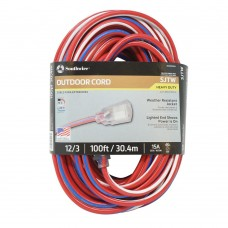 ORS - 172 - 02549 USA Southwire 100-Foot Contractor Grade , 12/3 Indoor/Outdoor/Heavy-Duty Electrical Extension Cord with Lighted End, Weather-Resistant, Patriotic (Red White & Blue), Made in USA.  - $79.76 each.