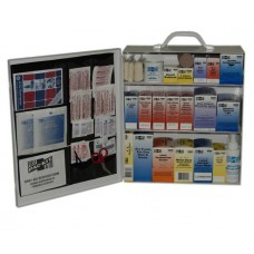 PAC - KIT - 6135 Solid Steel Case Two Shelf Wall Mountable First Aid Station with Carrying Handle is OSHA Compliant Treating 75 People Featuring 446 Items Including Metal Case,  $96.76 - Each