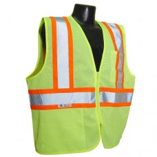 RAD - SV22 - 2ZGM Radians Safety Vest, HI-VIZ Lime Green Polyester Mesh Vest, Two Tone Stripe, Type R Class 2 Safety Vest, Front Zipper Closure, Lightweight, Breathable, & Durable.  -$ 10.96 each.