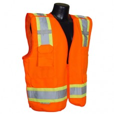 RAD - SV46O Radians Orange, 100 % Polyester, Mesh Break-A-Way, Surveyor Safety Vest, HI-VIZ, Two Tone, Type R, Class 2 Safety, Zip-N-Rip Closures, Front Zipper Closure, Lightweight, Breathable, & Durable.  - $21.76 each.