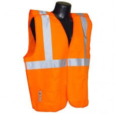 "RAD - SV40M Radians HI-VIZ Orange Polyester Mesh Safety Vest, Type R, Class 2, 5-Point Breakaway Safety Vest, Hook & Loop Closure, 2"" Silver Tape Reflective Stripes, Lightweight, Breathable, & Durable.  - $11.76 each."