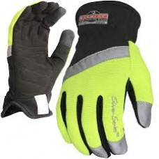 RAD - RWG 100  Radians Lightweight, Durable,  Padded Double Layer Synthetic Palm, Open Cuff, Hi-Viz Utility Glove with Reinforced Reflective Fingertips & Reflective Prismatic Pull Strap,  $7.76 - Each