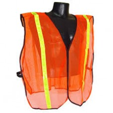 "RAD - SV01  Radians Lightweight, Hi-Viz Orange, Polyester Mesh, Non Rated Safety Vest with 1"" Reflective Stripes & Hook & Loop Front Closure, One Size (Fits Small to XL)  - $3.96 Each"