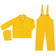 RIV -  2003  River City Yellow, .35 mm PVC/Polyester, Three Piece Rainwear with Snap Front Jacket, Detachable Hood & Bib Pants,  $10.36 - Each