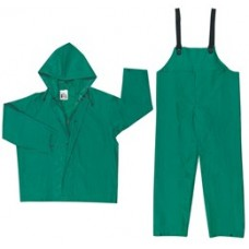 RIV - 3882 River City Dominator Kelly Green 2-Piece Suit, Tough & Roomy, Includes Jacket w/ Inner Sleeve & Zipper Front, Bib Pants with Full Elastic Suspenderrs, .42mm Thick Durable PVC/Polyester Material.  - $36.76 each.