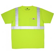 "RIV - STS - CL2SL River City High-Visibility T-Shirt, Class 2, ANSI/ISEA Type R, Short Sleeve, Polyester Jersey Fabric, 2"" Silver Stripes, w/ Chest Pocket, Soft, Lightweight & Comfortable, Florescent Lime.  - $14.76 each."