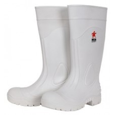 RIV - WPBP River City 16 Inch White PVC Boots, Plain Toe with Cleated Sole, Over the Sock Style, Polyester Liner, Great Grip for Wet/Muddy Conditions, 100 % Waterproof, Available in Sizes 6-14.  - $23.76 per pair.