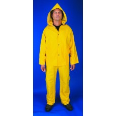RIV- 2003  River City Yellow, .35 mm PVC/Polyester, Three Piece Rainwear with Snap Front Jacket, Detachable Hood & Bib Pants,  $10.36 - Each
