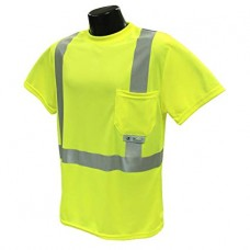 "RAD - ST11  Radians Class 2,  Hi-Viz Green, Short Sleeved, Safety T-Shirt with 2"" Heat Transfer Reflective Tape & Maxi-Dri Moisture Wicking Birdseye Mesh Technology,  $12.76 - Each"
