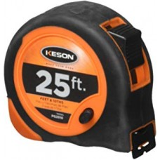 KES - PG25 - Keson Measuring Tape 25' Featuring Lacquer Coated Bladders & Positive Lock & Reverse, $5.96 - Each