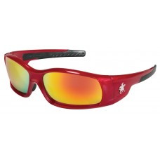 CRS-SR13R  Swagger Red Frame Fire Mirror Safety Glasses with Duramass Scratch Resistant Lens Coating & Excellent Orbital Seal for Comfort & Long Term Wear, $81.12 - per dozen.